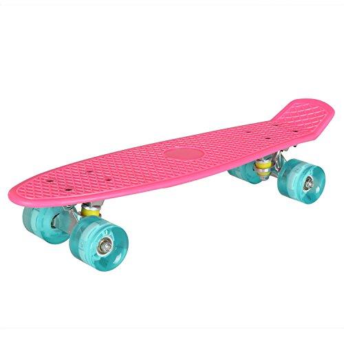 """Mini Cruiser Skateboard 55 cm von Flabor, Vintage Retro Skateboard Mini 22"""" mit LED Rollen für Kinder Mädchen"""