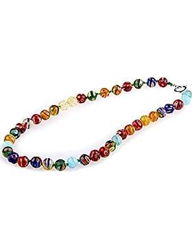 Skyllc® Glasperlen Millefiori Halskette Kette Rund 10mm TREND