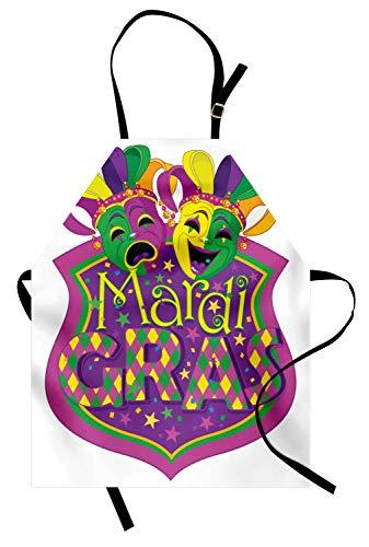 ABAKUHAUS Mardi Gras Kochschürze, Komödie und Tragödie Masken mit festlichen Karneval Karneval Blazon Design, Farbfest Höhenverstellbar Waschbar Klarer Digitaldruck, Lila Gelb Grün