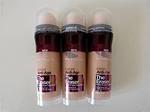 3 x Maybelline, The Eraser, Instant Anti-Age Foundation, 020 Cameo, New & Sealed
