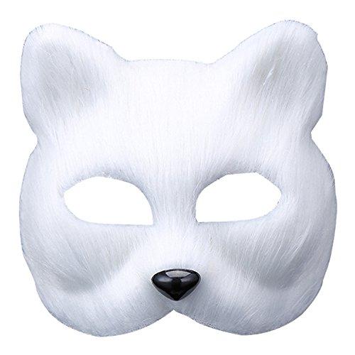 UClever Gesichtsmaske Tiermaske Fuchs Maske Damen mit Fellbesatz Fasching Zubehör Für Masquerade (Pelz Kostüme)