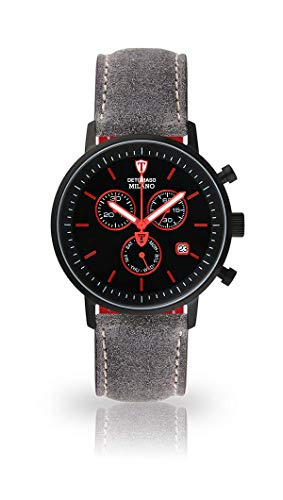 DETOMASO Milano Mens Watch Chronograph Analog Quartz Grey Leather Strap Black dial DT1052-M-803