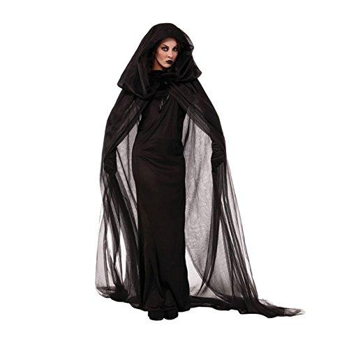 Imagen de finerolls disfraces de bruja para halloween cosplay costume para mujer con capucha negro
