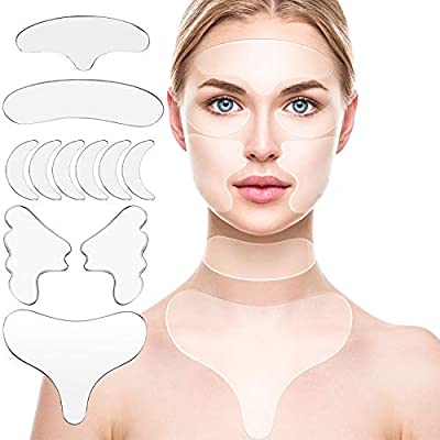 11 Pcs Reusable Silicone Chest Pads,Silicone Neck Pad Forehead Pad Decollete Pads Set Cleavage Pad Eye Mask Cheek Stick