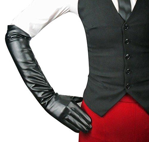 Alle Leder Kostüm Schwarzen (Edith qi Damen Lange Abendkleider Kunstlederhandschuhe Für Hochzeitsfest Kostüm Multicolor, Größe für)