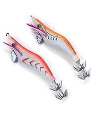 Paquete De 2 noctilucentes Glow Barba camarones gambas señuelos Sepia Squid Jigs gancho cebos