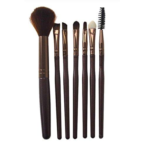 ❤️ LMMVP ❤️ 7 Pcs Silicone Maquillage Brosse Eyeshadow Brosse Cosmétiques Outil de Brosse de Mélange (7 Pcs, Cafe)