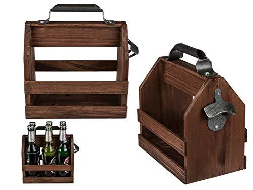 CBK-MS. Party Holz Bierträger Sixpack mit Metall Flaschenöffner Vintage Getränkekorb