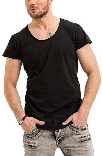 trueprodigy Casual Herren Marken T-Shirt Einfarbig Basic, Oberteil Cool und Stylisch mit Rundhals (Kurzarm & Slim Fit), Shirt für Männer in, Größe:L, Farben:Schwarz