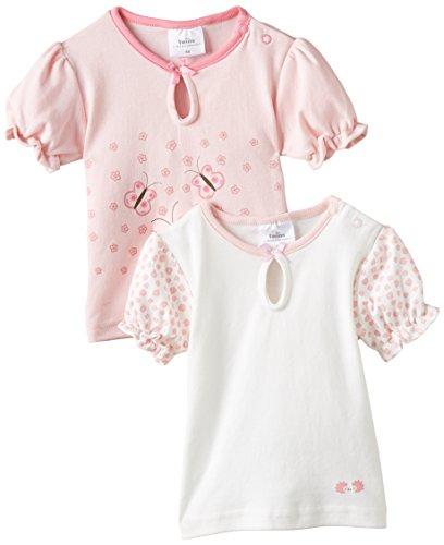 Twins Baby - Mädchen T-Shirt Blümchen im 2er Pack, Gr. 56, Rosa (Weiss/Rosé 210030)