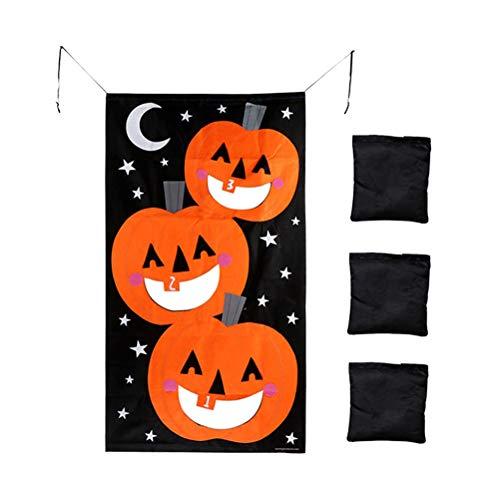 Toyvian Beanbags Spielzeug Nylon Spiel Spiel Sitzsäcke Kinder Spiel Kinder Spiel Werfen Taschen Halloween Party Dekorationen (Kürbis Banner * 1 + Sandsack * 3) (Spiele Dekoration Halloween)
