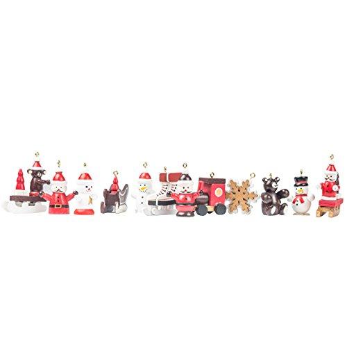 Christbaumschmuck, Weihnachtsbaumanhänger kleine weihnachtliche Figuren, Holz rot, weiß, gold, 12 Stück