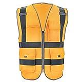 World-Palm Safety Reflective Vest Men Safety Workwear Work Vest Tool Pockets,Golden,XL-Chest124cm