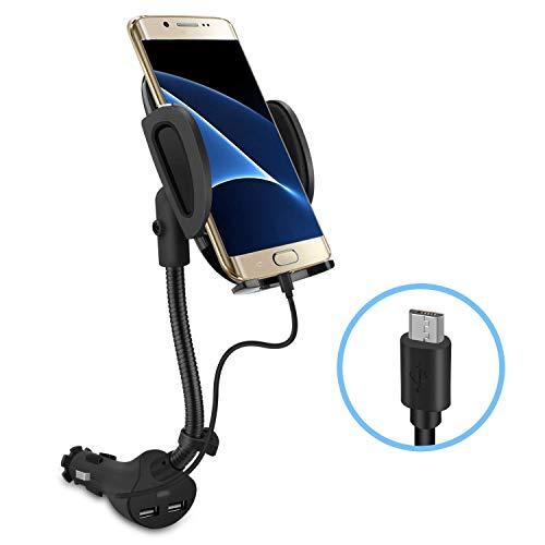 Te-Rich Auto Handyhalterung KFZ Ladegerät Navi Halterung mit integriertem USB Kabel für Samsung S8 S7 S6 Note 8, Nokia, Huawei, Sony, LG, HTC, Dual USB, 3.1A max (Für Android Handys)