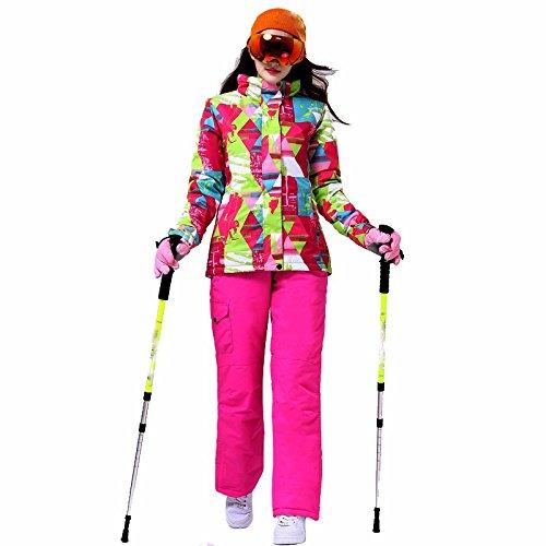 Women's sports outdoor combinaison de ski imperméable respirant chaud froid ski wear set multicolor