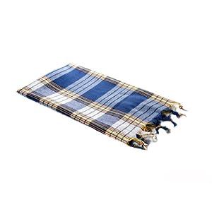 Carenesse Hamamtuch Classic blau kariert, 100% Baumwolle, 80 x 170 cm, leicht, kleines Packmaß, Pestemal, Saunatuch, Badetuch, Strandtuch, Handtuch Backpacker, Turkish Towel, Fouta