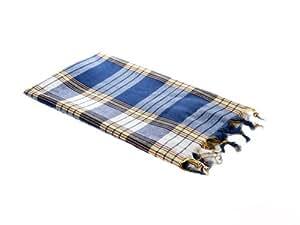 Carenesse Hamamtuch - Lendentuch - Pestemal - Saunatuch - Handtuch Backpacker- Strandtuch - Karo blau -100% Baumwolle - Original nur von Carenesse