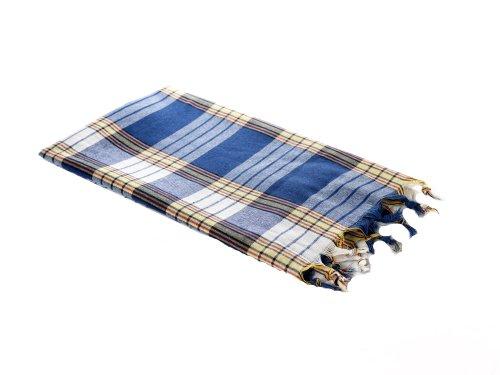Hamamtuch blau kariert - 100% BW – 170x80 cm - Pestemal - Saunatuch - Handtuch Backpacker - Strandtuch - Sporttuch - Fouta - Original von Carenesse