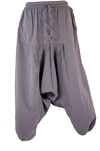 Guru-Shop Pluderhose, Haremshose Kathmandu, Damen, Baumwolle, Pluderhosen, Aladinhosen Alternative Bekleidung Taubenblau