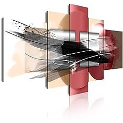 Cuadros trípticos y polípticos moderno en lienzo de 5 piezas, estilo abstracto en tonos rojos beig, negro, 180x85cm
