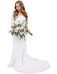HotGirls Lace Elegante Donna Applica Maniche Lunghe Abito da Sposa con  Treno Lunga 642217e33e8