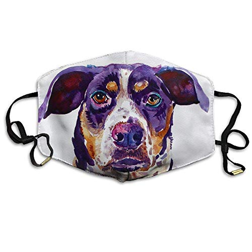 Daawqee Staubschutzmasken, Watercolor Pet Dog Printed Mask Neutral Mask for Men and Women Polyester Dust-Proof Breathable ()