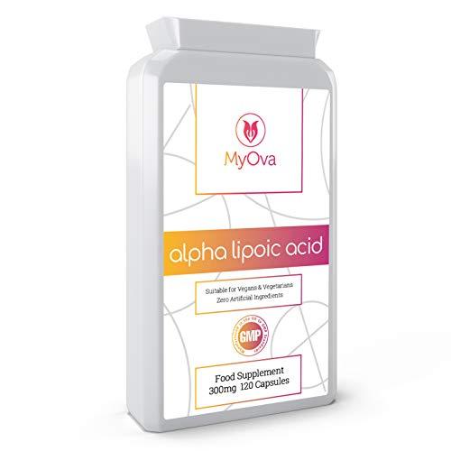 MyOva - Alpha Lipoic Acid - Suplemento de ácido alfa lipoico - Para el funcionamiento adecuado del sistema nervioso - 300 mg - 120 cápsulas