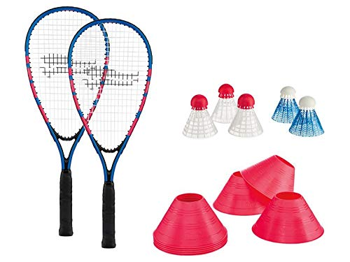 Crivit Fastball-Set Turbo-Badminton, Badminton Set mit 2 Schläger 5 Federbälle 1 Tragetasche, Rapid Ball Speedbadminton Set inklusive Tragetasche, ideal für Das schnelle Match zwischendurch