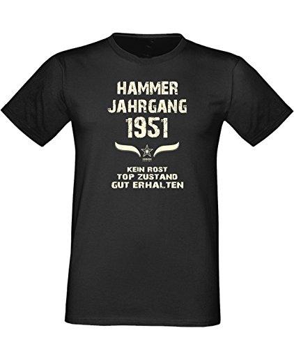 Sprüche Fun T-Shirt Jubiläums-Geschenk zum 66. Geburtstag Hammer Jahrgang 1951 Farbe: schwarz blau rot grün braun auch in Übergrößen 3XL, 4XL, 5XL schwarz-01