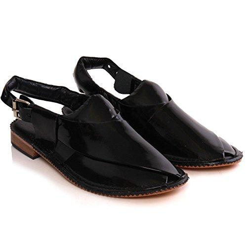 Unze Cuir à la main les sandales plates Peshawari Hommes de Hanks Noir