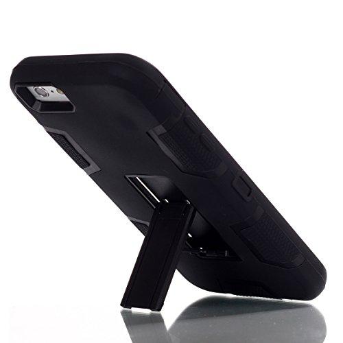 iPhone 6 Plus/6s Plus Hülle, FindaGift 3 in 1 Hybride Handycover Hartschale Cover Roboter Guard Schutzhülle Innere PC Case Weich Silikon Back Rüstung Ganzkörper-Schutz [Bruchsicher] [Anti-Rutsch] Hand Schwarz
