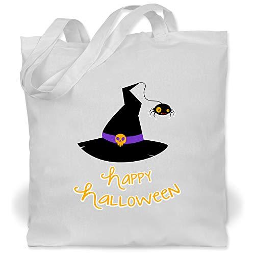 Magierin Weiße Kostüm - Shirtracer Halloween - Hexenhut Happy Halloween - Unisize - Weiß - WM101 - Stoffbeutel aus Baumwolle Jutebeutel lange Henkel