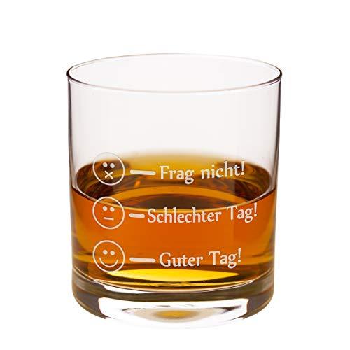 Geschenke 24 Leonardo Whiskyglas - Frag Nicht - Guter Tag Lustiges Whisky Glas mit Befüllungs-Markierungen graviert - Markenglas mit Smiley Gravur je nach Stimmung