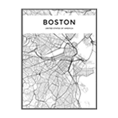 NBHHDH Bilder Auf Leinwand Moderne Schwarzweiss-Boston-Stadtkarten-Reise-Kontur-Karten-Bilder-Leinwand-Malerei-Plakat-Druck-Wand-Kunst-Ausgangsdekoration, 60 × 80Cm Kein Rahmen -