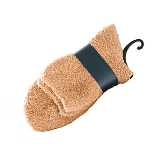 Tinksky Hommes corail polaire cheville chaussettes chaudes chaussettes plancher épais duveteux chaussettes de lit de sommeil cadeau de noël 1 paire (kaki)