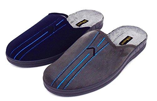 Herren Textil-Pantoffeln mit rutschfester Gummisohle Hausschuhe Pantoletten blau grau Gr. 40-46 Blau