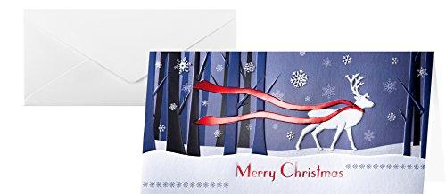 SIGEL DS017 Weihnachtskarten Set mit Umschlag, DIN lang, 10 Stück, mit Hirsch-Motiv