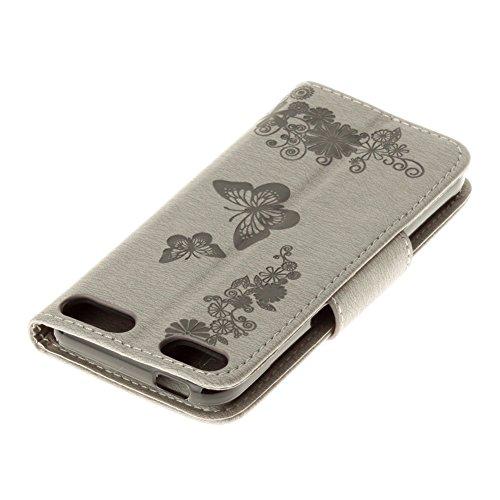 Coque iPhone X, Coque iPhone 10, Pridot Étui de Protection Bien PU Cuir Portefeuille Housse Conception de Papillon Flip Cover Cadeau des Dames Fleur en Relief avec Fonction de Support pour iPhone X, i Gris