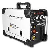 STAHLWERK MIG 200 ST IGBT - MIG MAG Schutzgas Schweißgerät mit 200 Ampere, FLUX Fülldraht geeignet, mit MMA E-Hand, weiß, 5 Jahre Herstellergarantie
