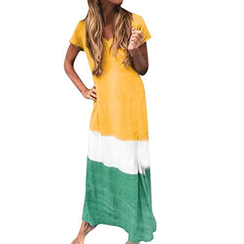 Göttin Kostüm Plus Größe Lila - TYTUOO Damen Kleid Damen Plus Size Casual Daily Tie-Dyed Color Block Lose V-Ausschnitt Kurzarm Maxi Kleider