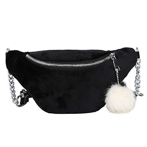 VJGOAL Damen Bauchtasche, Frauen Herren Unisex Plüsch-Anhänger Schulter Messenger Bag Solid Bauchtasche Umhängetasche(Schwarz,One Size)