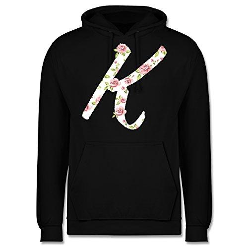 Anfangsbuchstaben - K Rosen - Männer Premium Kapuzenpullover / Hoodie Schwarz