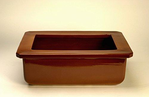 K&K Pferdetrog klassisch rechteckig 65x45x23 cm (LxBxH) vollglasiert , braun, Steinzeug (Keramik)