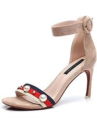 YUCH Sandales Femmes High-Heeled Bretelles Croisées Sortie Chaussures de Travail,I,40