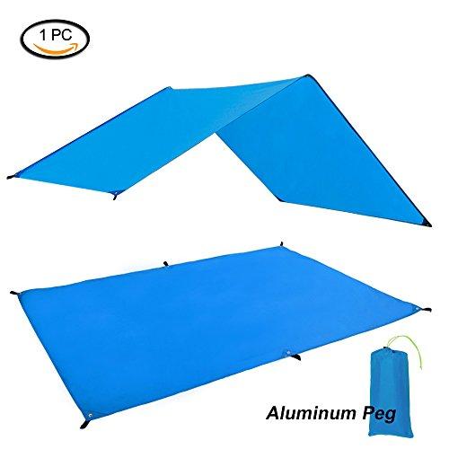 GEERTOP Zeltböden Schutzplane Zeltplanen Zeltunterlage Polyester 1-4 Personen Leichte Wasserdicht für Zelt Wanderungen Camping Picknick (Blau, 90x210cm)