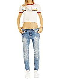 Bestyledberlin Damen Slim Fit Jeans, Entspannte Jeanshosen, Boyfriend-Baggy Pants j37g