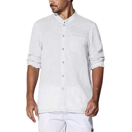 DNOQN Coole Shirts Herren Langarmshirt Herren Langarm T-Shirts Baggy Baumwolle Linen Solide Plus Größe Tops Blusen XXL