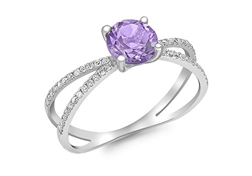 Carissima Gold 9 ct White Gold 0.144 ct Diamond and Amethyst Elliptic Ring - Size - P