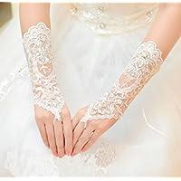 Interesting® 1 par de largas nupcial de cristal cordón de guantes sin dedos para la fiesta de la boda Prom blanco
