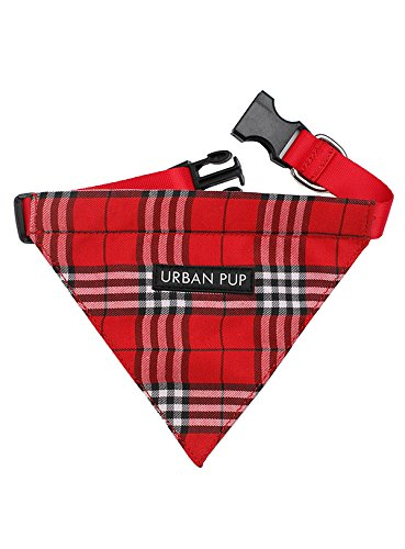 "UrbanPup Red Checked Tartan Bandana (Small - Dog Neck Circumference, adjusts: 8"" to 11"" / 20cm to 28cm) 1"